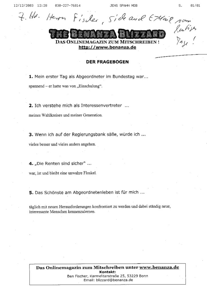 Fax von Jens Spahn an Benanza Blizzard (Screenshot)