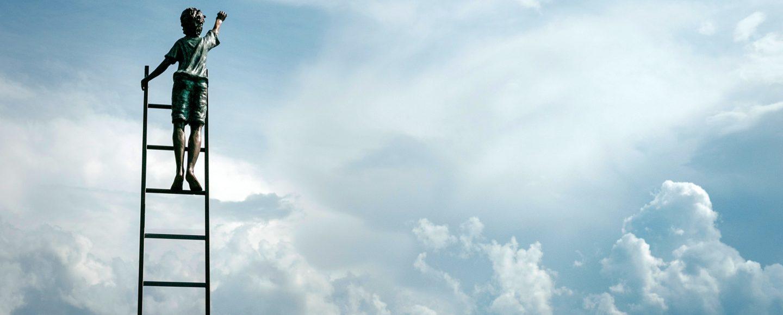 Wolken Leiter Junge Tipp