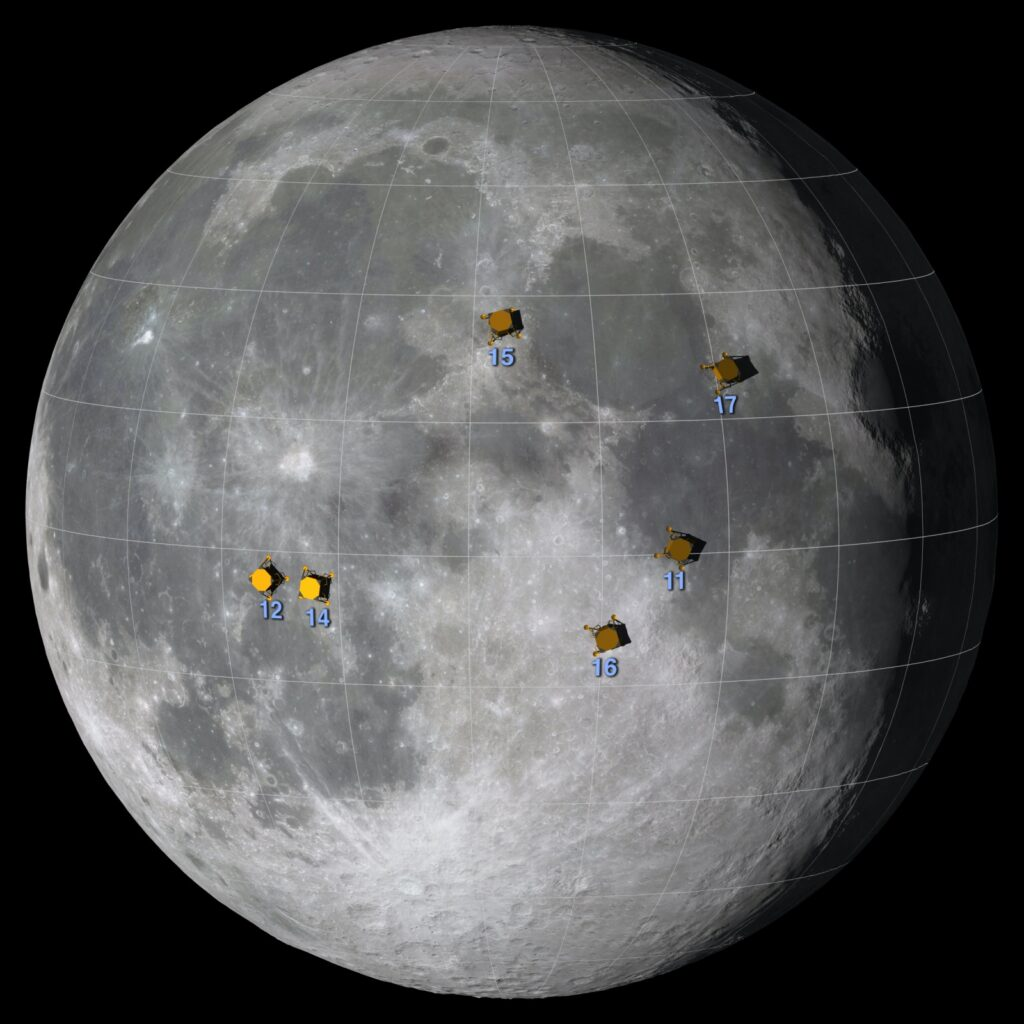 Mond Landeplätze Apollo-Missionen NASA