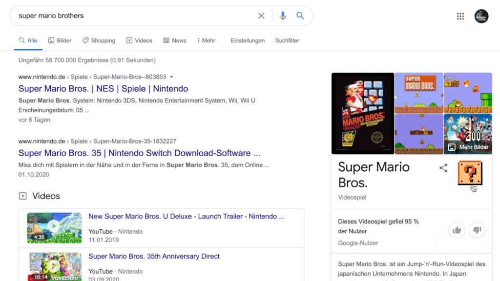 Google Super Mario Brother Easter Egg